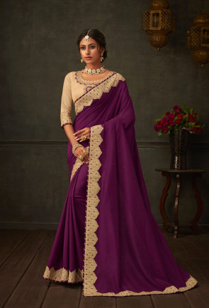 sudarshan new Purple Poly Silk Embroidered Heavy Work Designer Saree