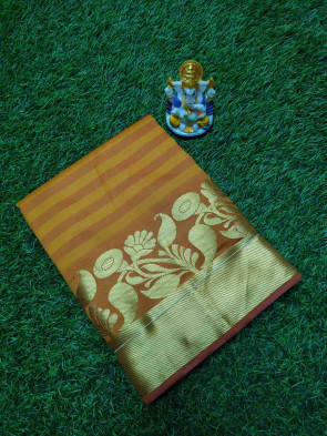Cotton saree comes with over all body lines design and gold multi butta design with gold plain small border