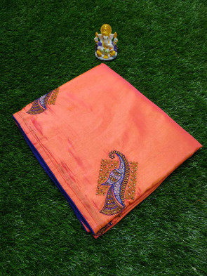 Sana Embroidery work saree comes with over all body peacock  work design  borderless saree