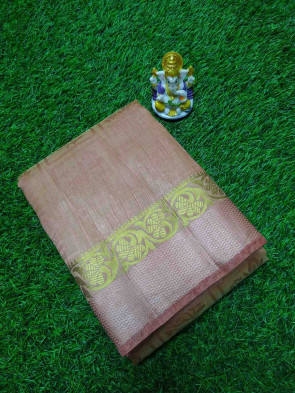 Half raw silk saree comes with over all body in checks flower butta design with gold flower butta plain border
