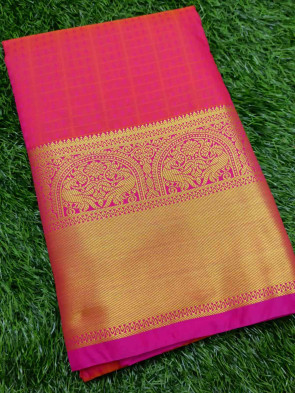 Art silk saree comes with over all body checks small flolwer embose design with multi design gold border