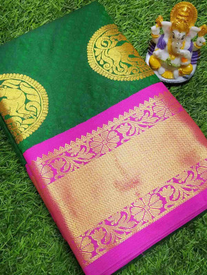Art silk saree comes with over all body flower embose in the bottom round gold multi design butta with multi design gold border