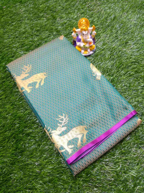 Art silk saree comes with over body tiny flower emboose and deer, elephant butta without border