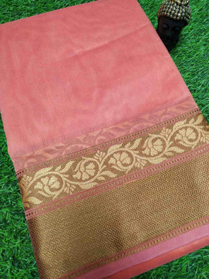 Cotton saree comes with over all body plain design with multi design thread border