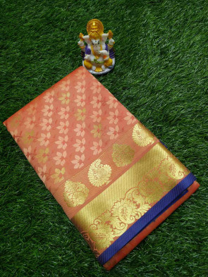 Art Silk Saree Overall body flower design embose with Gold border selkf design pallu and running blouse piece saree