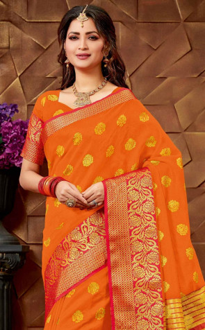 sudarshan Family Store  Silk Saree ( Spun blend ) all over Body Butta Design with contrast border with running Blouse piece Saree