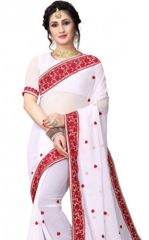 Sudarshan New Georgette Fancy Brocket HEAVY EMBROIDERY RESHAM WORK WITH HEAVY RESHAM BORDER